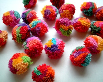 Mixed Colors Pom Poms, yarn pom poms, cotton pom pom, yarn balls, beads, pompom, party decoration, birthday, 50 pom poms, Handmade, colorful