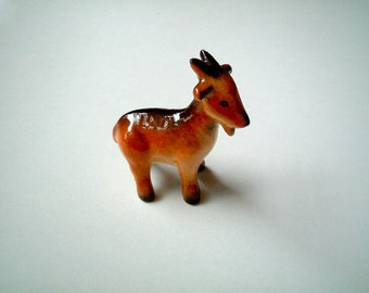 Brown Ceramic Goat: mini, ceramic animal, tiny animal, small animal, little animal, decoration, miniature animal, mini, tiny, small, iammie