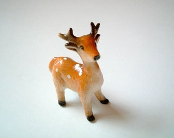 Ceramic Deer,  mini animal, ceramic animal, tiny animal, small animal, little animal, decoration, miniature animal, fawn, doe, reindeer