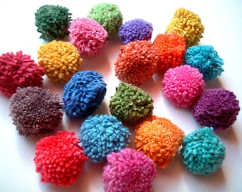 Party Pom Poms, pompom, yarn pom pom, flower poms, rainbow, birthday, party decoration, button, bead, soft, 20 cotton poms, discounted, SALE