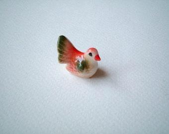 Little Red and Green Ceramic Bird: mini animal, ceramic animal, tiny animal, favor, little animal, decoration, small, little, mini, tiny