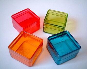 Plastic box, mini box, set of four, colorful, supplies, beads box, supplies, gift box, button box, small box, little box, clear box, iammie