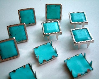 Square Light Blue Leather Craft Studs, set of 10 pin, button, bead, blue, silver, light blue, turquoise, jaws, fang, iammie