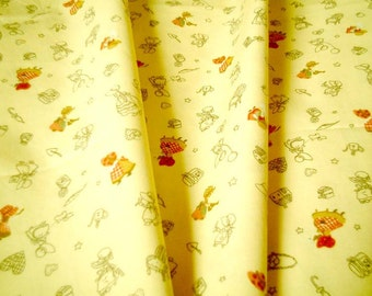 Cream, Cotton Fabric, Half yard, country, girl, pattern: chair, kid, apple, girl, children, bed, Craft, quilt, cute, Discounted, SALE, cheap
