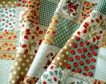 FAT QUARTER, Cute, Country, Strawberries, Flowers, Cotton Fabric: dot, check, fruits, craft, children, red, teal, Discounted, cheap, SALE