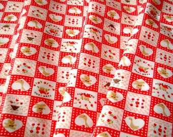 Cotton Fabric, Half Yard, cute, kawaii, Country Style, red, check , pattern: home, bear, doll, flowers, duck, Discounted, cheap, SALE