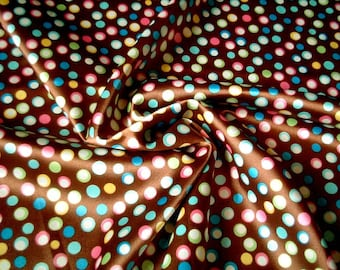Satin, Fabric, One FAT QUARTER, cute, beautiful, Chocolate, Brown, Galaxy, poka dot, pink, green, blue, light blue, craft, white, star