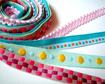 SALE 4 Cute Fabric Trim, 1 yard of 1/2 inch Wide, red, check, plaid, dot, poka dot, light green, turquoise, blue, teal, yellow, yardage