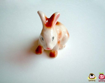 Rabbit Figure, ceramic rabbit, miniature rabbit, bunny figure, white, brown, hare, ceramic animal, mini, little, spring, totem