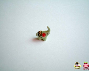 Miniature Light Green Ceramic Elephant Figure, ceramic elephant, miniature ceramic animal, miniature elephant, elephant figure, iammie