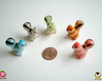 Miniature Brown Ceramic Squirrel, miniature squirrel, miniature animal, decoration, little, small, tiny, ceramic animal, figurine, desk