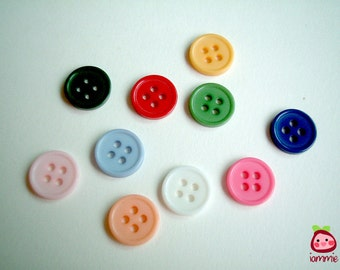 Assorted Plastic Button, colorful, tiny, small, blue, red, green, yellow, pink, white, light orange, purple, shocking pink, 100 buttons