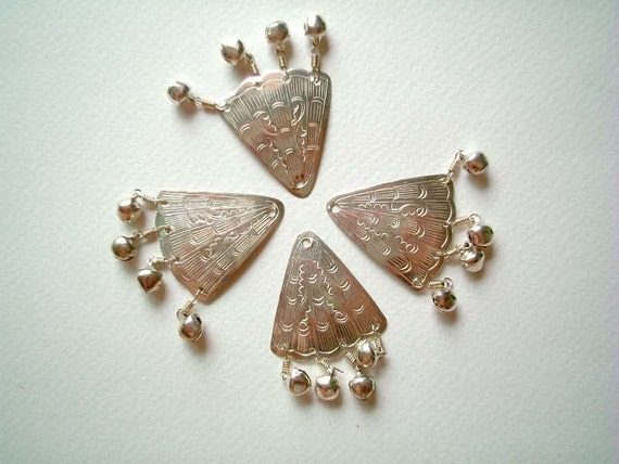 Set of FOUR Silver Embossed Aluminium Fan / Triangle / Shell with small bells, buttons, beads, metal, small, shiny, cute, elegant, pretty
