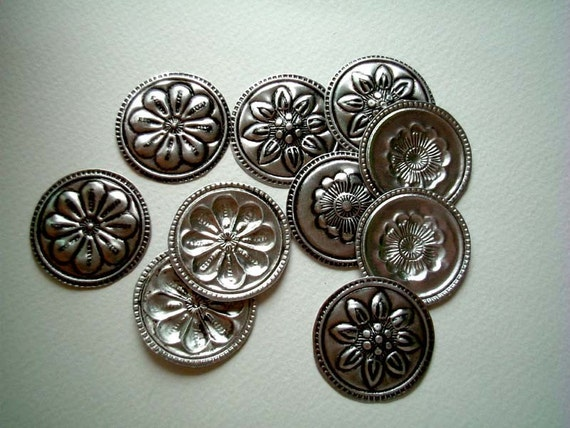 Round Embossed Aluminium Embellishment, silver, bells, buttons, beads, metal, small, shiny, cute, elegant, flower, rose, daisy, sunflower