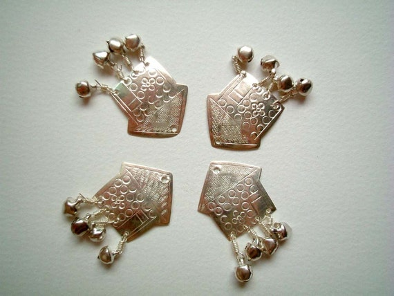 Set of FOUR Silver  Embossed Aluminium House with small bells: bells, buttons, beads, metal, small, shiny, home, arrow, cute, elegant