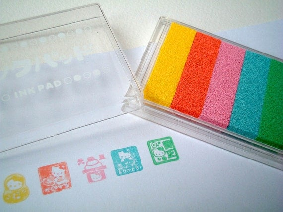 Ink Pad from Japan, five colors, yellow, orange, pink, light blue, green, card decoration, paper decoration, kid, stamp, rubber, cute