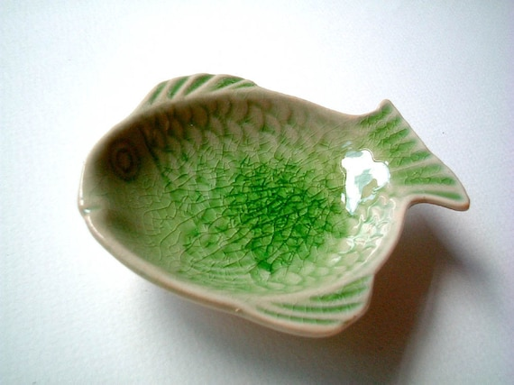 Ceramic Plate, Green Fish, ceramic bowl, sauce dish, mini, small, little, soap, bowl, kitchen decoration, vintage style, china, iammie