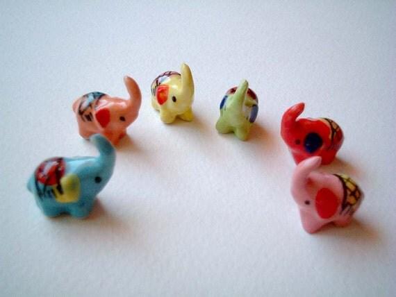 Little Red Riding Ceramic Elephant: Christmas present, home, decor, birthday, baby shower, mini, small, tiny, garden, clay, kid, ornament
