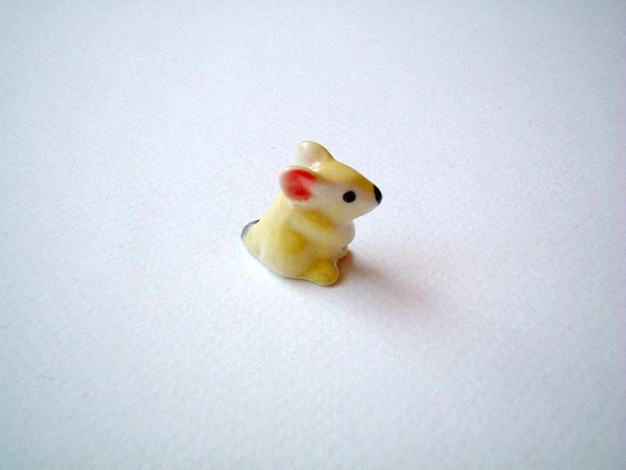 Miniature Mouse Figurine, yellow, ceramic animal, little animal, tiny animal, ceramic mouse, tiny mouse, hamster, miniature mice, mini mouse