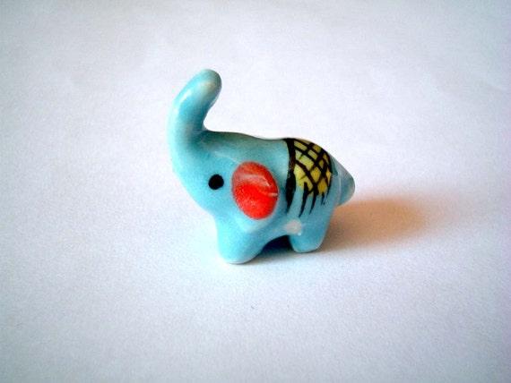 Little Light Blue Ceramic Elephant: mini animal, ceramic animal, tiny animal, small animal, little animal, decoration, small, little, mini