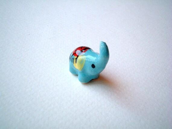Miniature Blue Ceramic Elephant: mini animal, ceramic animal, tiny animal, small animal, little animal, decoration, miniature animal