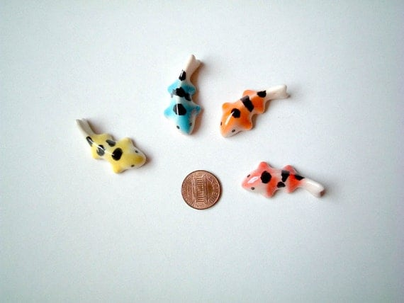 Miniature ceramic koi carp orange white little animal tiny for Mini carpe koi