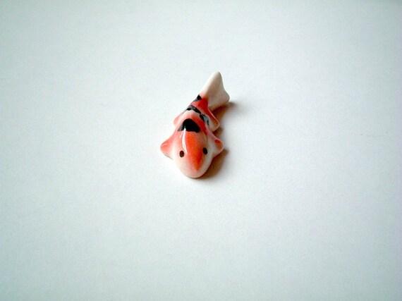 Little Pink and White Japanese Koi Ceramic Carp: mini animal, tiny animal, small animal, miniature fish, tiny fish, small fish