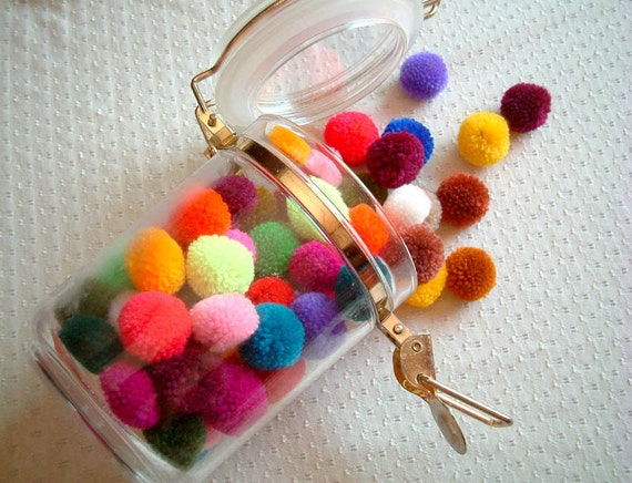 Party Pom poms, party decoration, wedding decoration, yarn pom pom, pompom, supplies, kid, summer, rainbow, 100 poms, handmade, candy