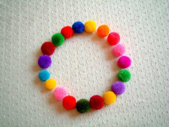 Party Pom poms: party decoration, wedding decoration, yarn pom pom, yarn balls, baby room, pompom, colorful, 50 poms, handmade, soft