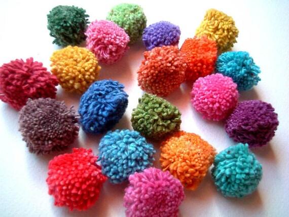 Party Pom Poms, pompom, yarn pom pom, flower poms, rainbow, birthday, party decoration, button, bead, soft, 20 cotton poms, discounted, SALE