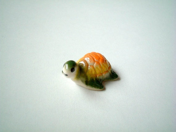 Miniature Turtle, Yellow, Orange, Green, Ceramic Turtle, tortoise, miniature animal, animal, little, small, tiny, miniature, decoration
