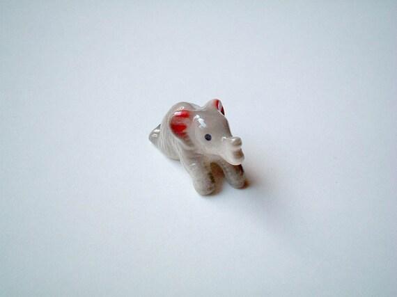 Little Grey Ceramic Elephant, miniature animal, mini animal, decoration, tiny animal, small animal, tiny, mini, small, little animal, gray