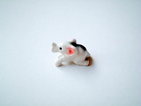 Little White Ceramic Elephant, miniature animal, mini animal, decoration, tiny animal, small animal, tiny, mini, small, little animal, toy