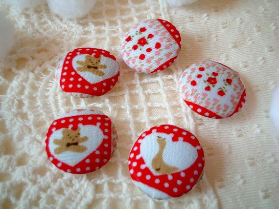 Button, fabric, SALE, Set of FIVE, Cute, Kawaii, Country, Red, White, buttons, plaid, cartoon, flower, bear, duck, bright, japan, discounted