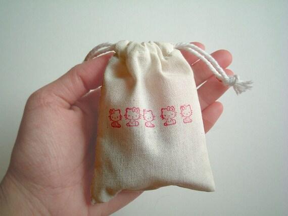 HELLO KITTY: Unbleached Muslin Drawstring bags, cotton bag, handmade, stamped, cute, kawaii, cartoon, animal, children, kid, favor bag
