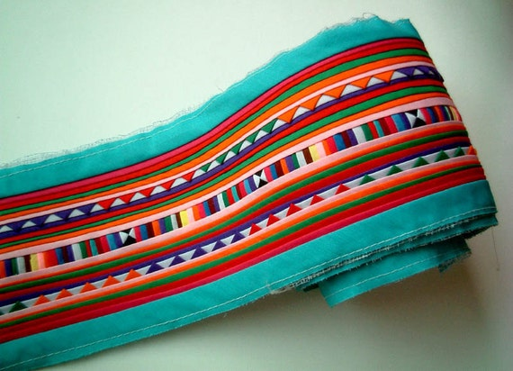 Turquoise, Light Blue Sewn Fabric for Crafting, fabric craft, bag, quilt, clothes, textile, garment, stripe, hill tribe, hmong, lisu, party