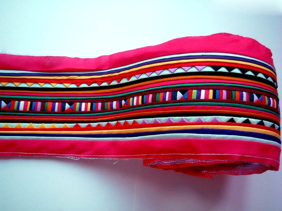 Lisu fabric, Hmong, hill tribe, Hot Pink Sewn Fabric for Crafting, bag, quilt, clothes, textile, garment, stripe, wall art