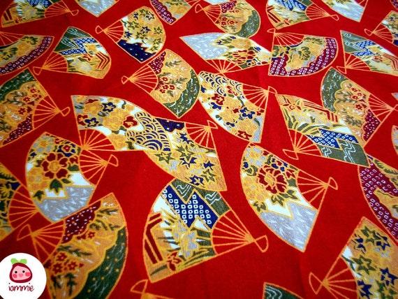 Bright Red Japanese Fabric, crimson, fan, cotton, Half Yard, fat quarter, cute, kawaii, children, kid, iammie