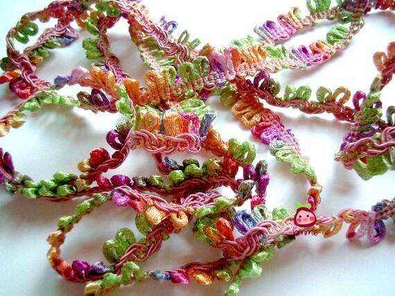 Rainbow Silky Trim, fabric trim, ribbon, fabric ribbon, lace, card decoration, party, wedding, gift wrap, 2 yard, 1/2 inch wide, iammie