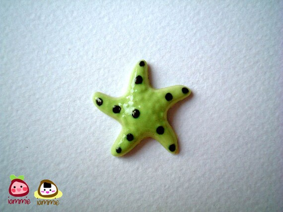 Miniature Animal Figure, starfish figure, ceramic starfish, light green, lime green, poka dot, miniature animal, decoration, tiny, mini