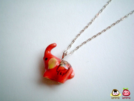 Miniature Red Ceramic Elephant Necklace, silver necklace, charm, miniature elephant, miniature animal, small, tiny, accessories, iammie