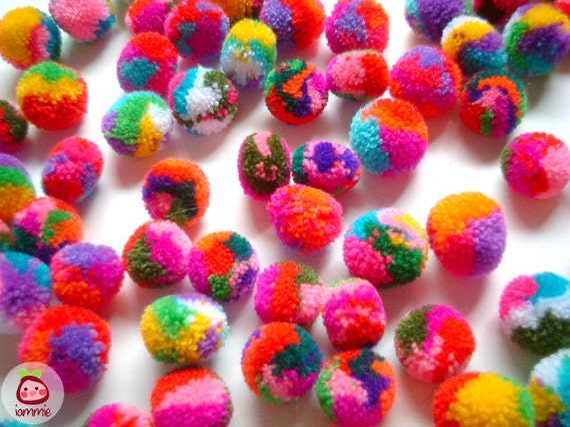 Mini Mix Yarn Pom Poms, miniature, party pom, pompom, colorful, kid, children, yarn ball, bead, colorful, tiny, 20 pom poms, tiny, small
