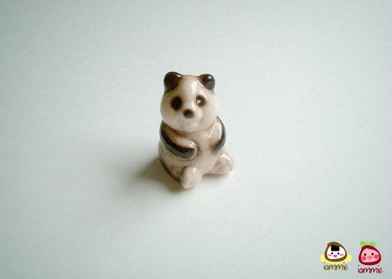 Ceramic Panda Figure, figurine, miniature panda, miniature animal, decoration, white, black, small, tiny, ceramic animal, bear, little