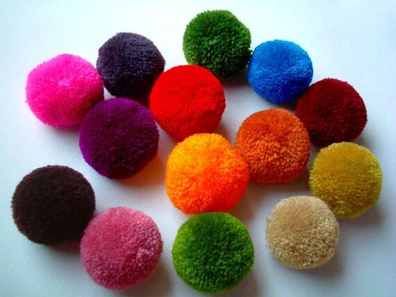 Yarn Pom Poms, party poms, handmade, pom pom, yarn balls, pink, green, blue, white, red, black, brown, yellow, 10 poms, tulle, soft