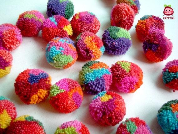 Yarn Pom Poms, cotton pom pom, flower pompom, mums, decoration, eco, button, bead, small, party, hmong, fun, cute, 100 poms, SALE, discount