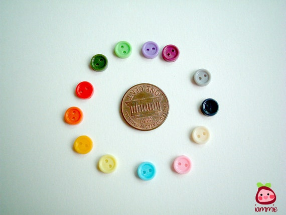 Assorted Mini Plastic Button, colorful, tiny, small, light blue, blue, red, green, yellow, orange, pink, cream, purple, black, 100 buttons