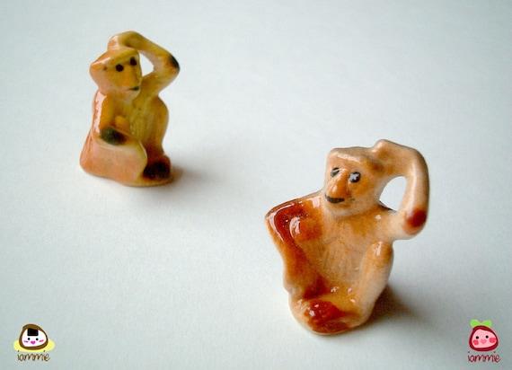 Miniature Monkey Figurine, ceramic animal, ceramic figure, animal figure, animal figurine, yellow, brown, mini animal, tiny, small, little