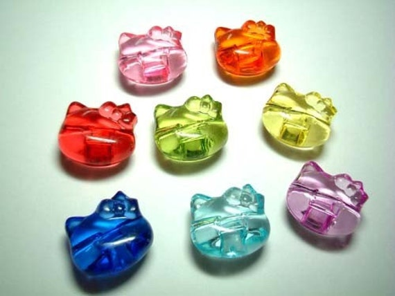 Hello Kitty Beads, charm, crystal-like, plastic, button, girl, children, kid, children, kitten, cat, japan, red, blue, green, iammie