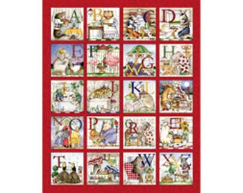 Childre's Fabric Panel, Hungry Animal Alphabet Cotton Crib Panel by Quilting Treasures