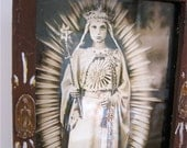 STUNNING Reproduced VINTAGE Virgin Mary Photograph and Frame